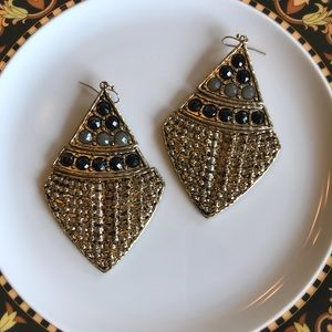 Gold and black over size earrings